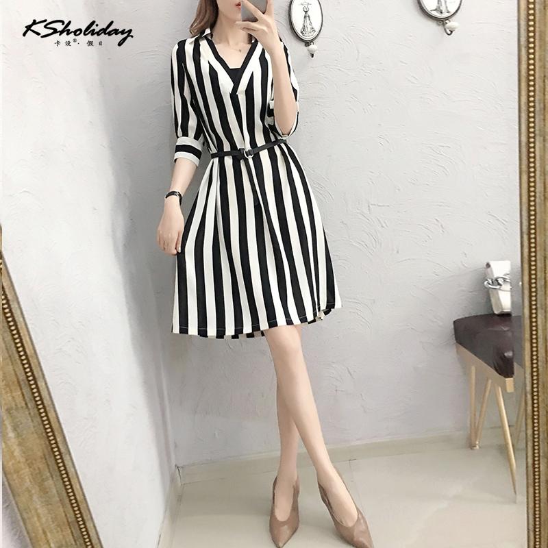 Ks2019 fashion skirt lace up waist show thin Stripe Dress Lady temperament goddess model loose skirt