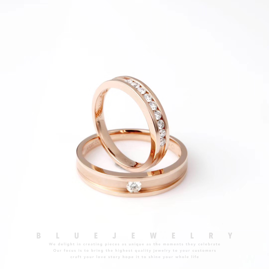 18K Gold couple plain ring to ring for marriage real diamond ring men and women rose gold simple style customization