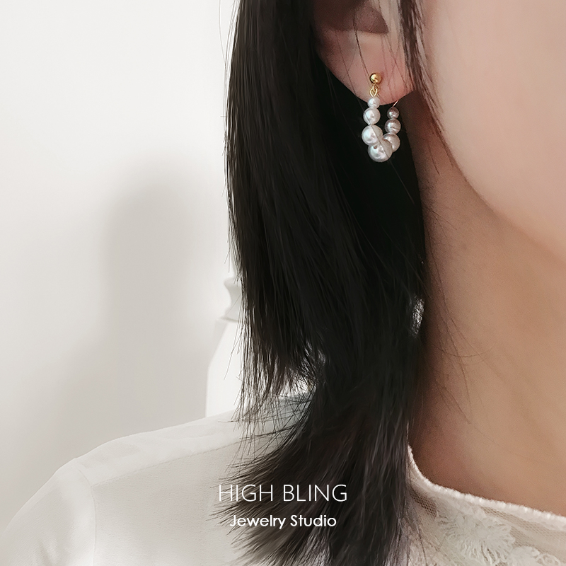 HighBling纯银复古精致法式珍珠后挂耳钉耳圈女无耳洞蚊香盘耳夹图片