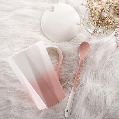 少女心喝水杯子可爱带盖勺家用陶瓷马克杯创意个性潮流办公室茶杯