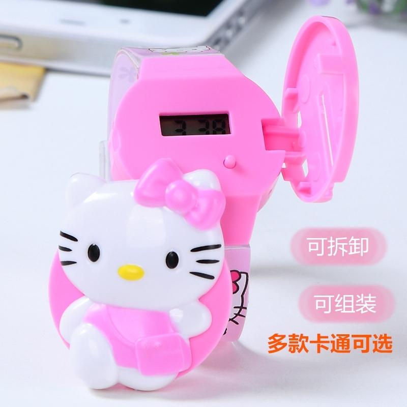 ふたを開けてキティの腕時計の子供の漫画の男の子の女の子ドラえもんのKT猫の機械の猫のトーマスの電子時計