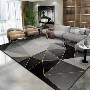 北欧风现代简约地毯卧室客厅轻奢满铺床边茶几毯黑色地垫免洗家用