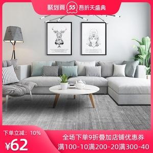 北欧风地毯客厅ins卧室轻奢沙发茶几毯满铺黑灰纯色地垫免洗家用