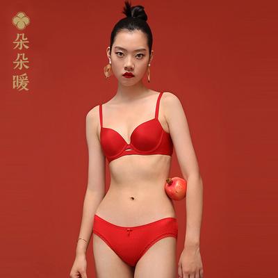 朵朵暖女士内裤棉质中腰女三角内裤女结婚裤头红色本命年内裤女