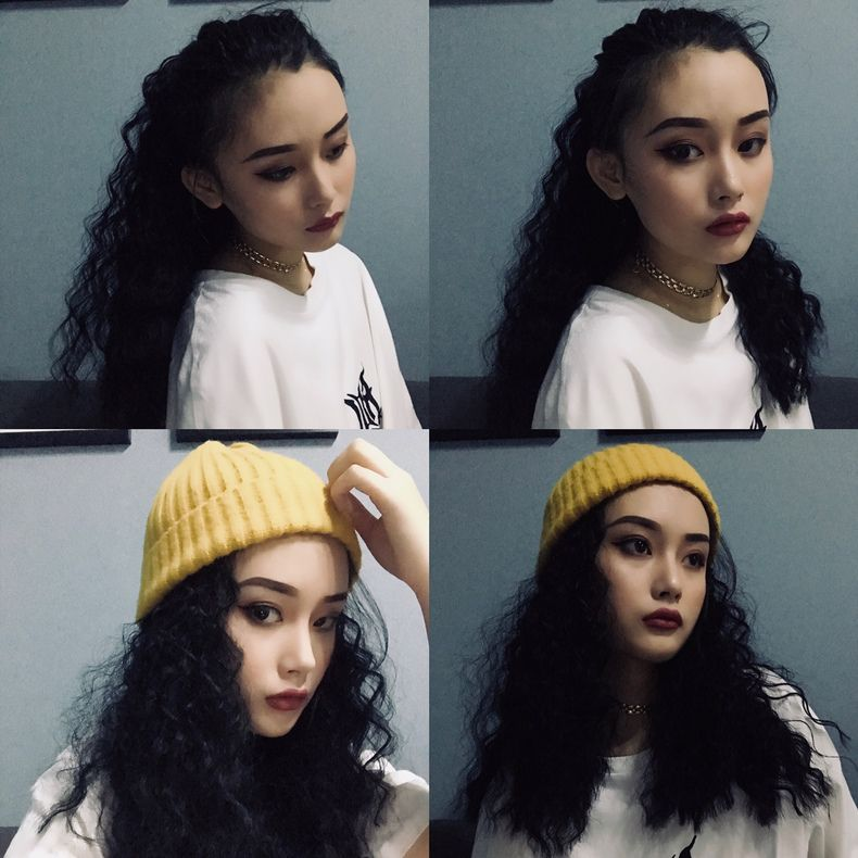 Wig tiger clip long curly horsetail woman hip hop small curly corn hot bandage realistic medium and long wig piece