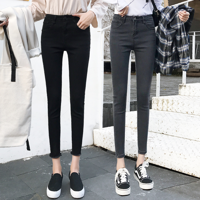 High waist skinny jeans women's feet 2020 new autumn and winter stretch ladies black nine-point pants are thin and versatile