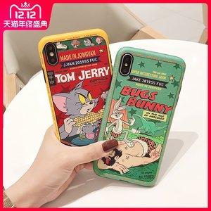 浮雕卡通动画 苹果xr手机壳iphone x创意蚕丝纹11pro max兔子8plus可爱老鼠7个性软套6s硅胶保护套