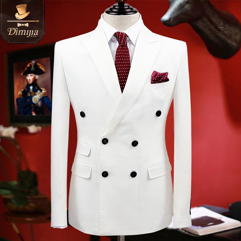 帝米佳白色西装外套男 英伦风2021男士休闲西装 新郎结婚礼服上衣