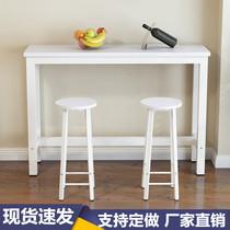靠墙吧台桌家用长条窄高脚桌椅简易高腿玄关简约小阳台奶茶店厨房