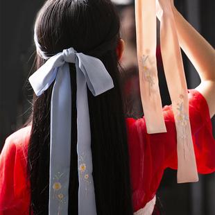百搭繡花刺繡髮帶古風漢服髮帶頭飾古裝飾品發繩配飾腰帶