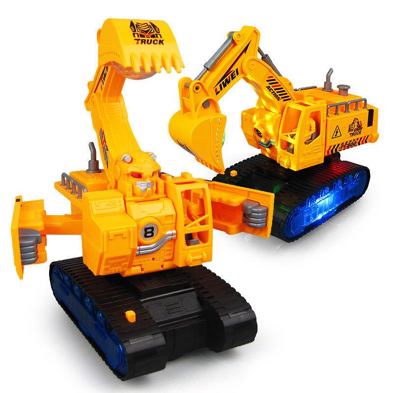儿童电动变形挖掘机挖土车音乐灯光万向工程车宝宝男孩益智玩具车