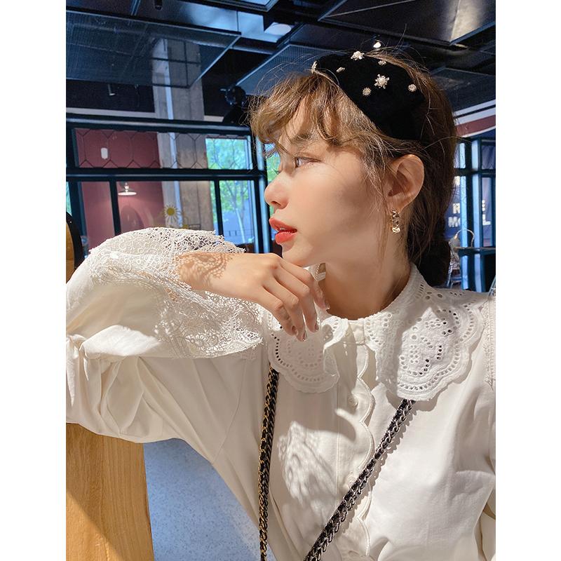 鬼鬼家 韩国东大门正品 自留蕾丝喇叭袖娃娃领洋气棉质奶白衬衫