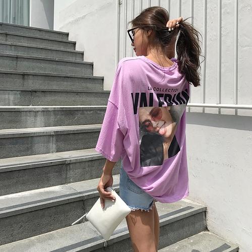 鬼鬼家 韩国代购夏 时尚女孩图案 圆领七分袖字母T恤衫