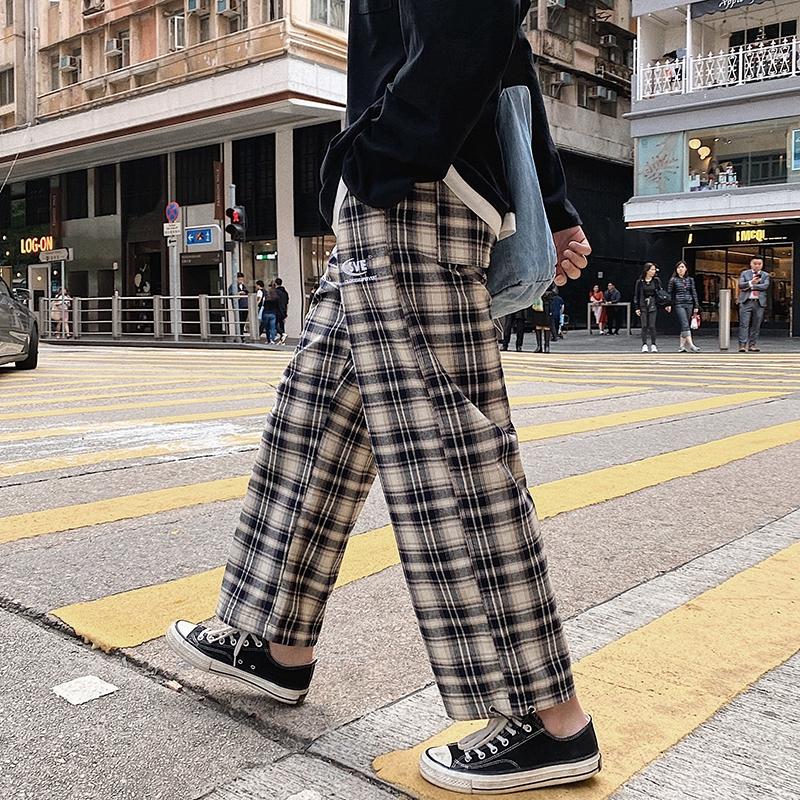 不束脚适合腿粗的学生格纹方格格裤子男士格子仔8九分裤kuzi热天