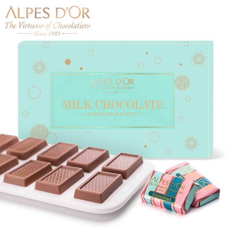 爱普诗瑞士果仁巧克力进口牛奶巧克力片创意零食喜糖礼盒装批发券后49.90元