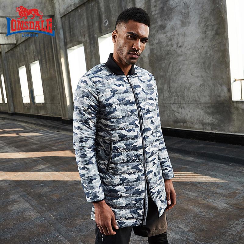 龙狮戴尔正品新款羽绒服男中长款轻薄修身外套迷彩男装132321097
