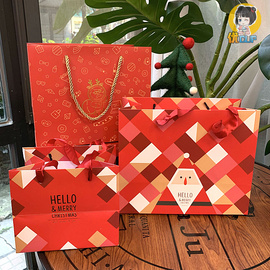 圣诞节礼品袋新年礼物包装袋纸袋卡通可爱提袋折叠礼物袋送朋友图片