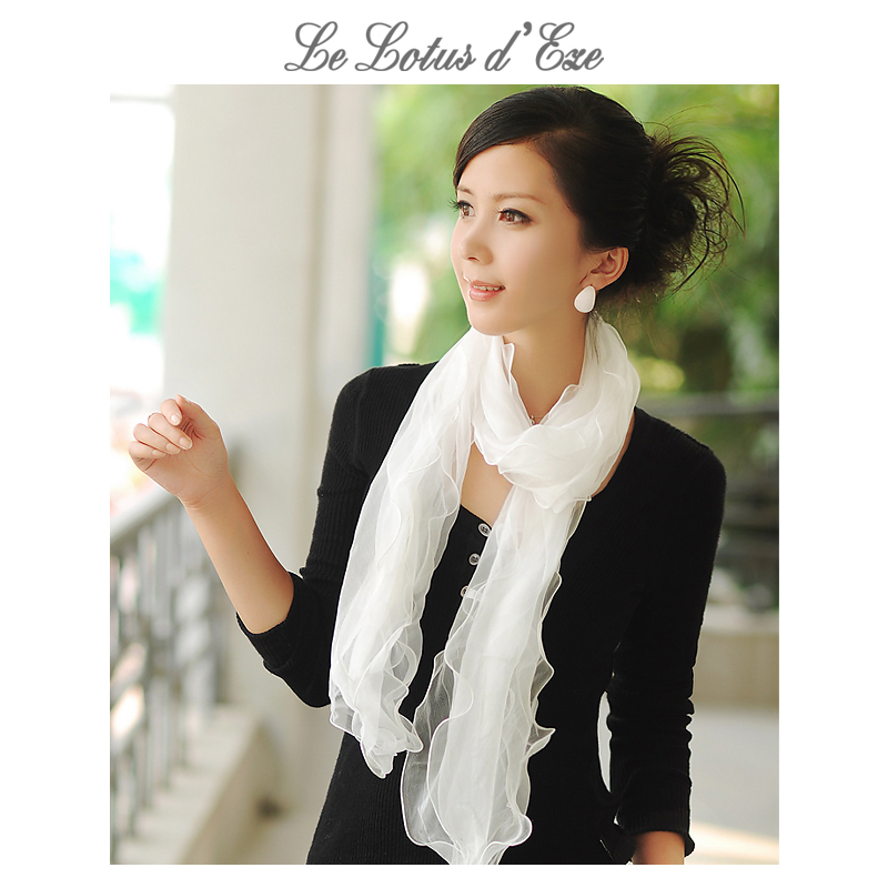 Spring and autumn mulberry silk summer female aestheticism three layer pure color long silk scarf silk white scarf travel sunscreen narrow gauze towel