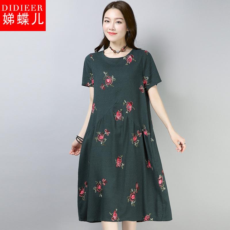 娣蝶儿2018夏季新款女棉麻绣花刺绣短袖民族风宽松中长款裙