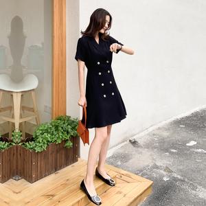 赫本风小黑裙女2020夏新款法式复古双排扣显瘦连衣裙短袖西装裙子