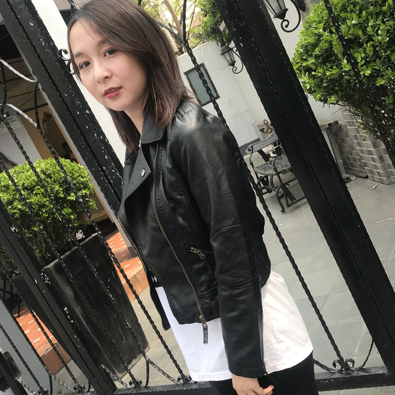 Small leather womens short Korean version Slim Skinny leather jacket