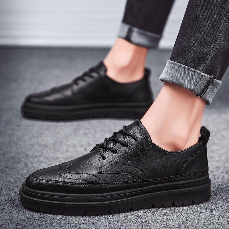 厨师鞋男防滑防水防油厨房专用鞋厚底透气全黑色皮鞋上班工作鞋子