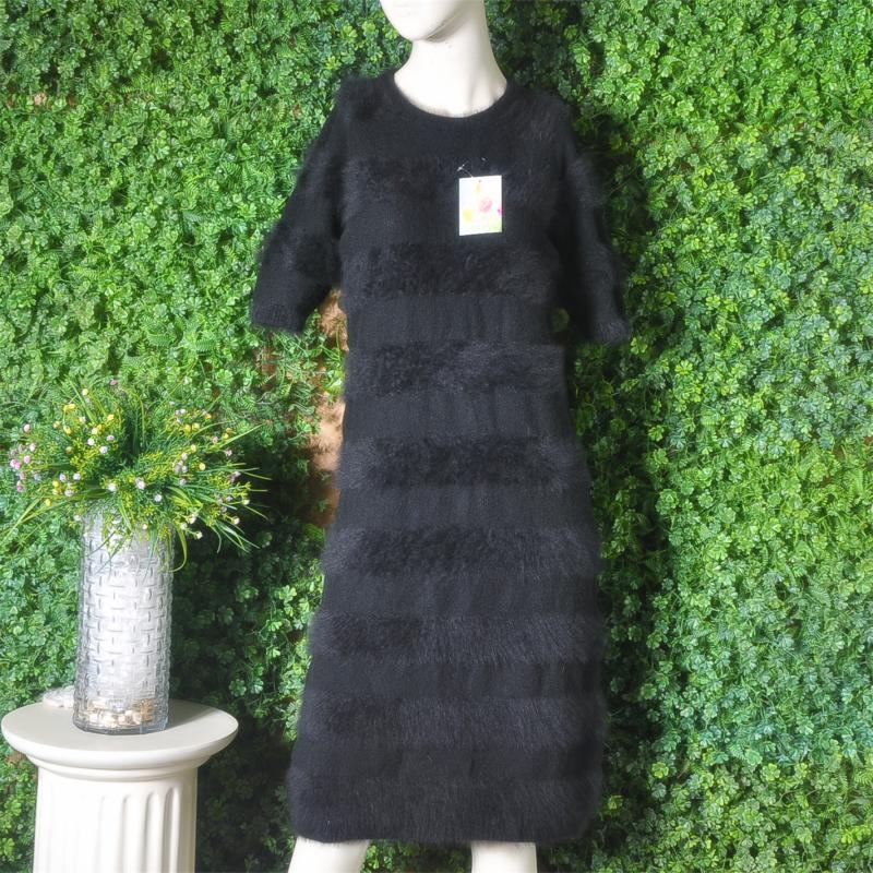 Black invisible wide stripe long knee dress soft Angora plush rabbit hair short sleeve sweater slim