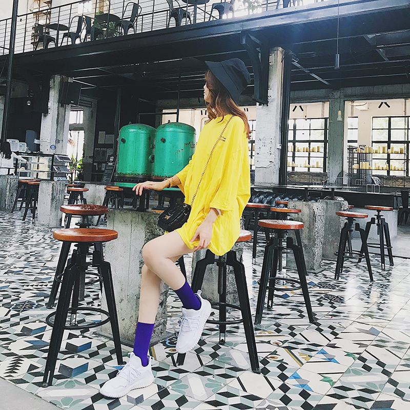 潮牌袜子女ins紫色短袜日系韩版学院风中筒袜纯棉时尚百搭女袜