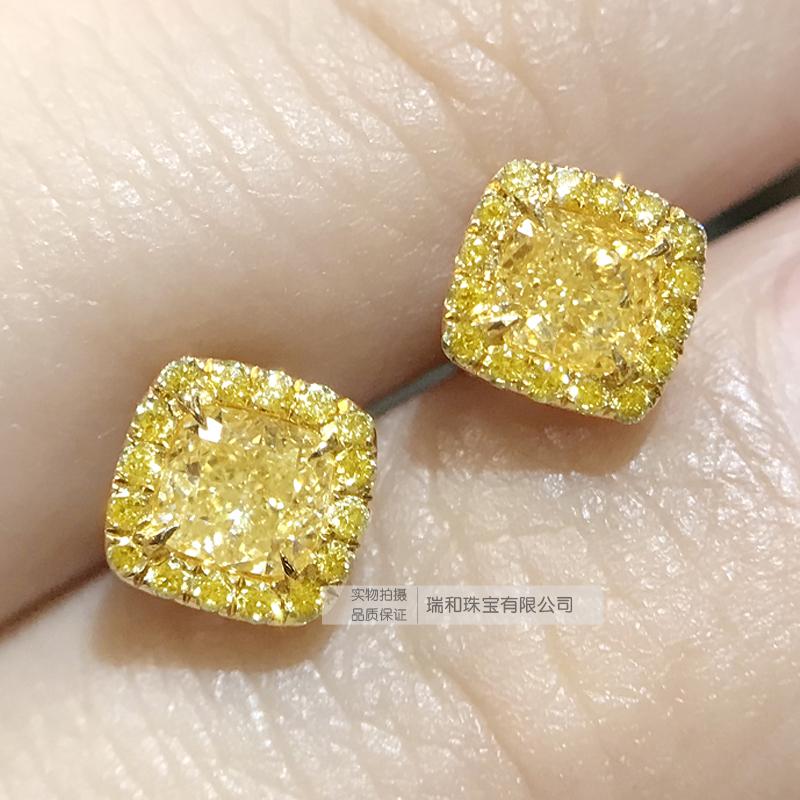 瑞と宝石18 kゴールドの枕型のダイヤモンドのピアスの女真ドリルの黄色のピアスの30分のファッションの百が設計して注文することができます。