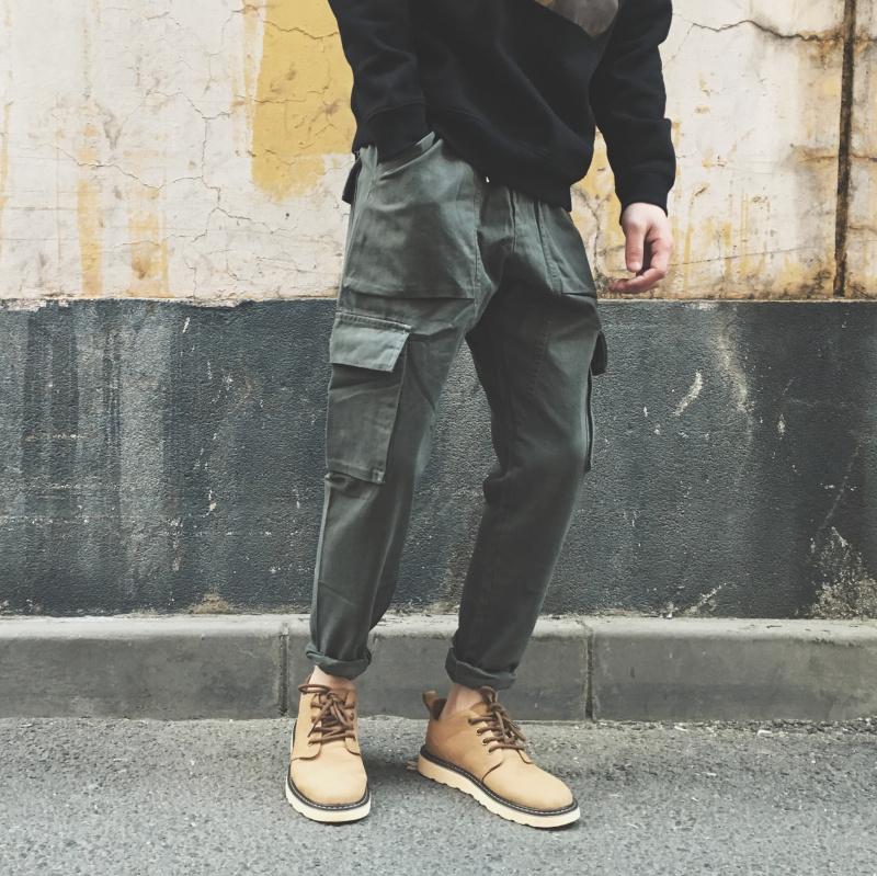 易冧工装裤男春季多口袋休闲裤子