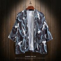 中国风仙鹤七分袖披风加肥加大码男士薄款防晒衣道袍外套夏潮胖子