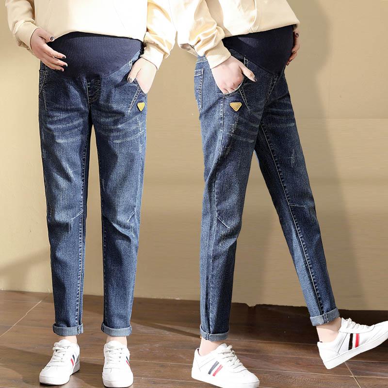 孕妇春秋冬装新款大码孕妇牛仔裤子外穿新款宽松外穿打底长裤潮妈