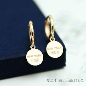 韩国正品纯14k金耳环女简约时尚新款彩金光面字母耳扣耳钉1420155