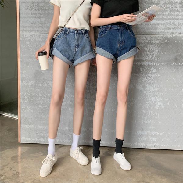 KTY9303#新款韩国花苞牛仔短裤宽松卷边阔腿裤百搭高腰热裤显腿