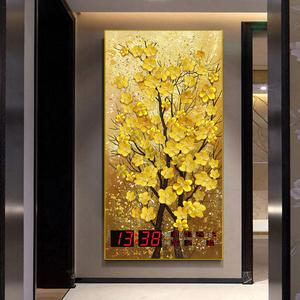 竖版玄关装饰画数码电子万年历2020年新款家用客厅壁挂挂墙时钟表