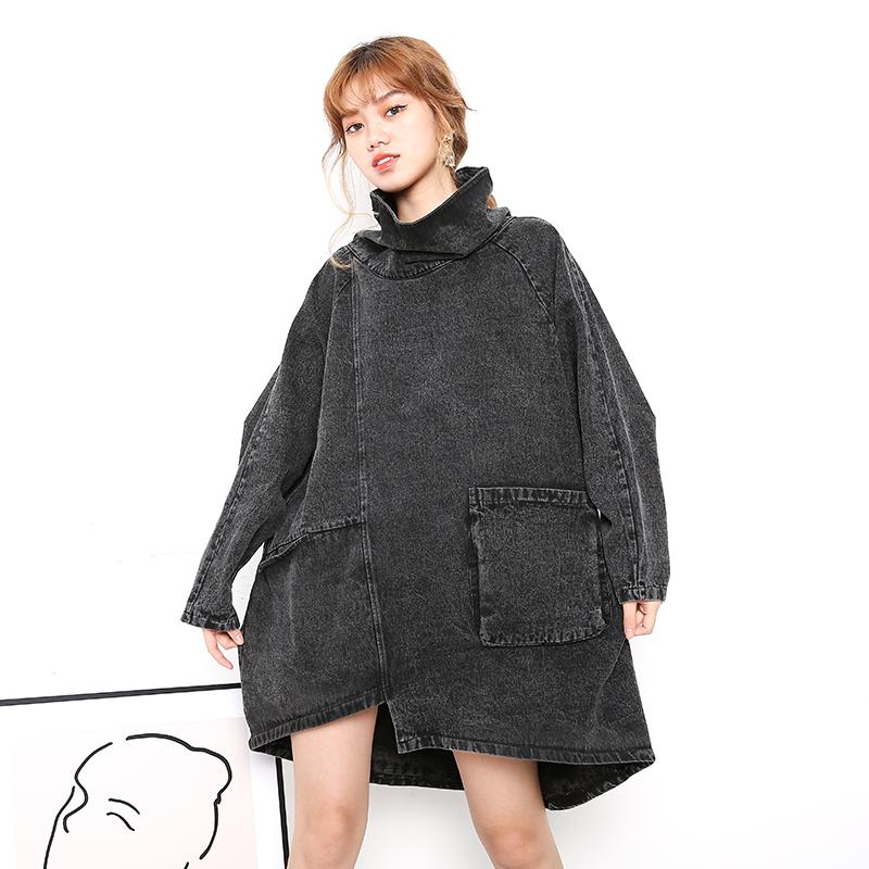 高领套头中长款黑色牛仔卫衣女韩版潮ins宽松bf慵懒风暗黑系个性