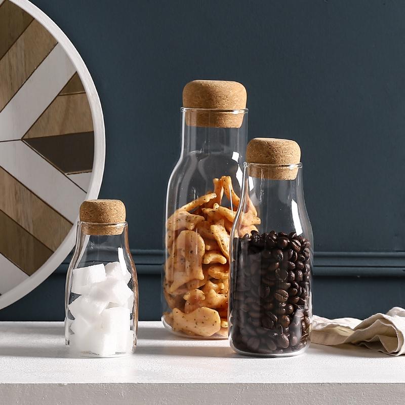 熊谷组日式密封罐透明玻璃茶叶咖啡豆杂粮奶粉家用木塞食品收纳瓶