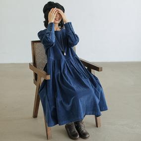 可然湘君/文艺气质灯芯绒连衣裙
