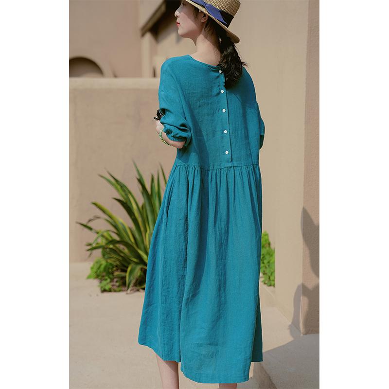 可然 南歌/100水洗亚麻 好版型高级雀蓝色长裙女夏宽松棉麻连衣裙图片