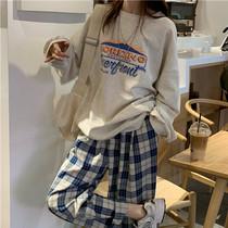 2021韩版网红炸街时尚减龄洋气两件套卫衣阔腿裤休闲工装套装女潮