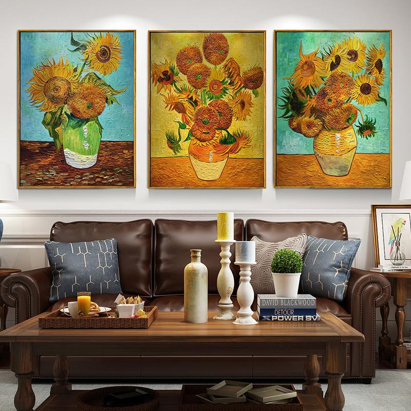 世界名画欧式花卉静物三联挂画梵高向日葵油画手绘客厅餐厅装饰画