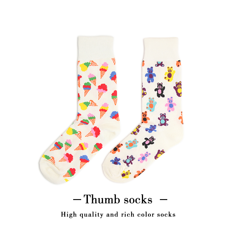 happy小熊新款潮牌袜子男女泰迪熊可爱学院风潮流中筒棉袜子Socks