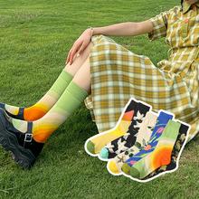 让人happy的外穿中筒袜子女ins潮 创意插画鸽子复古潮男长袜socks