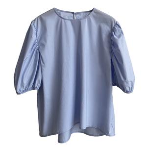 新款宽松奶油蓝短袖衬衫夏季薄款