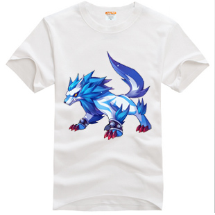 Big gray wolf pattern short sleeve teenagers half sleeve boys and girls clothing summer lovers T-shirt game peripheral