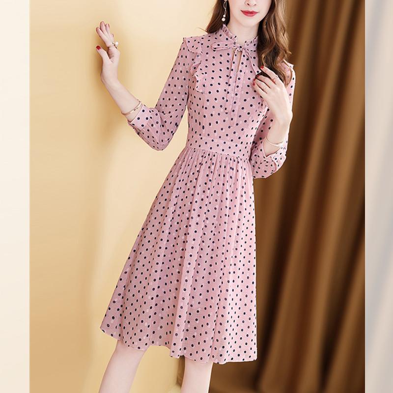 长袖雪纺连衣裙2020年春装新款波点印花收腰显瘦中长款衬衫裙