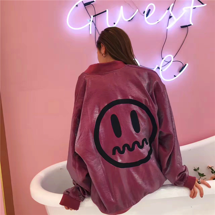 Beaster 17ss limited electric light fabric Satin grimace devil jacket for men and women