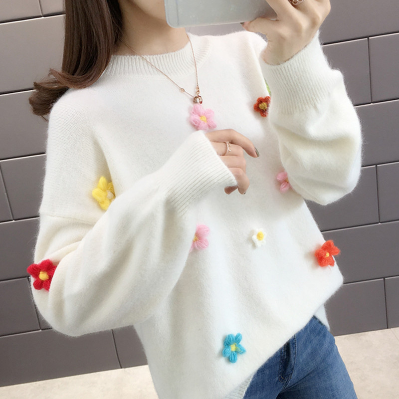 Autumn dress 2020 new early autumn Pullover net red flower fairy sweater womens loose sweater womens autumn winter trend