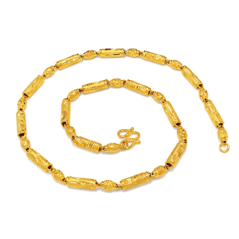 越南沙金项链男士镀黄金空心项链久不掉色厚金项链女橄榄珠金链子