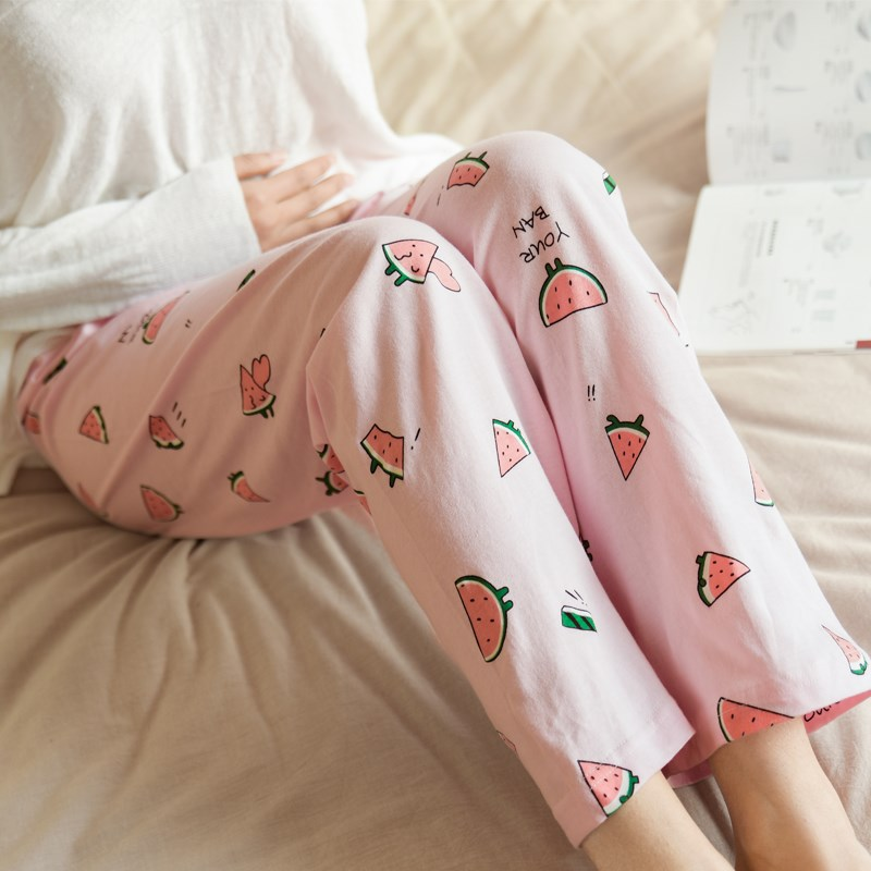 ? Pure cotton Maternity Pants womens spring and autumn pregnancy sleeping pants summer thin all cotton large size abdominal loose home